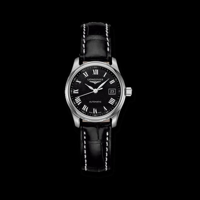 Damenuhr Longines Master Automatik 29mm mit schwarzem Zifferblatt und Alligatorenleder-Armband bei Brogle