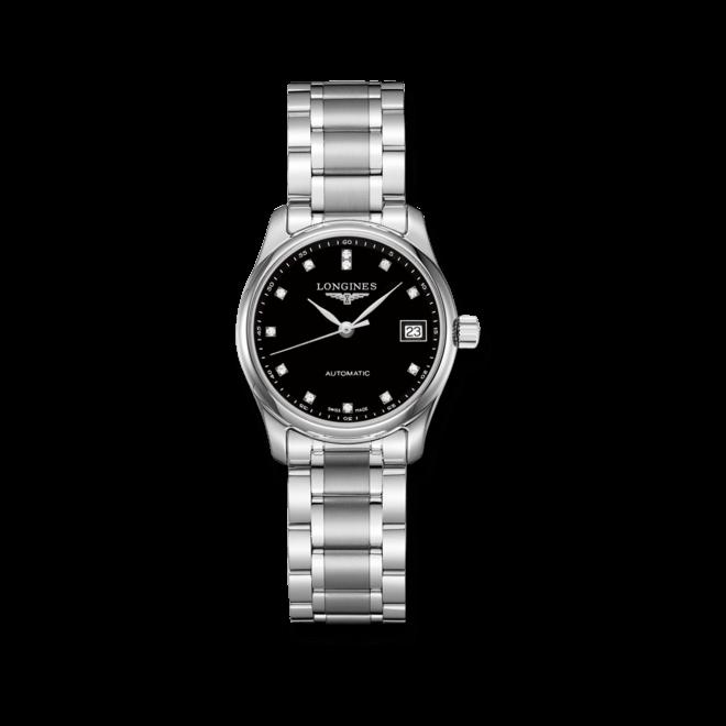 Damenuhr Longines Master Automatik 29mm mit Diamanten, schwarzem Zifferblatt und Edelstahlarmband bei Brogle