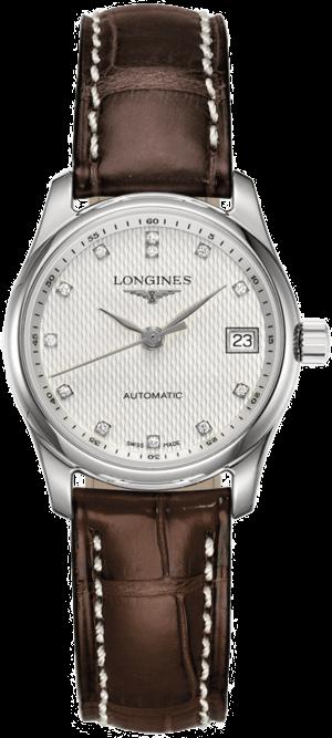 Damenuhr Longines Master Automatik 29mm mit Diamanten, silberfarbenem Zifferblatt und Kalbsleder-Armband