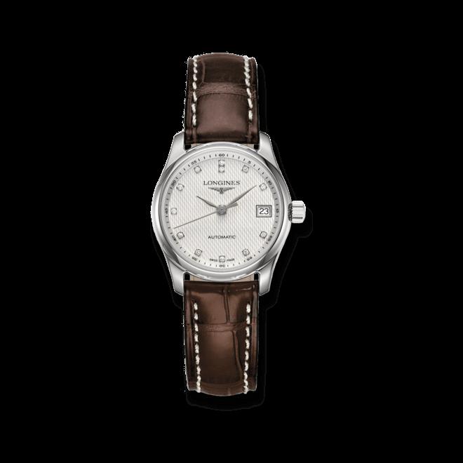Damenuhr Longines Master Automatik 29mm mit Diamanten, silberfarbenem Zifferblatt und Kalbsleder-Armband bei Brogle