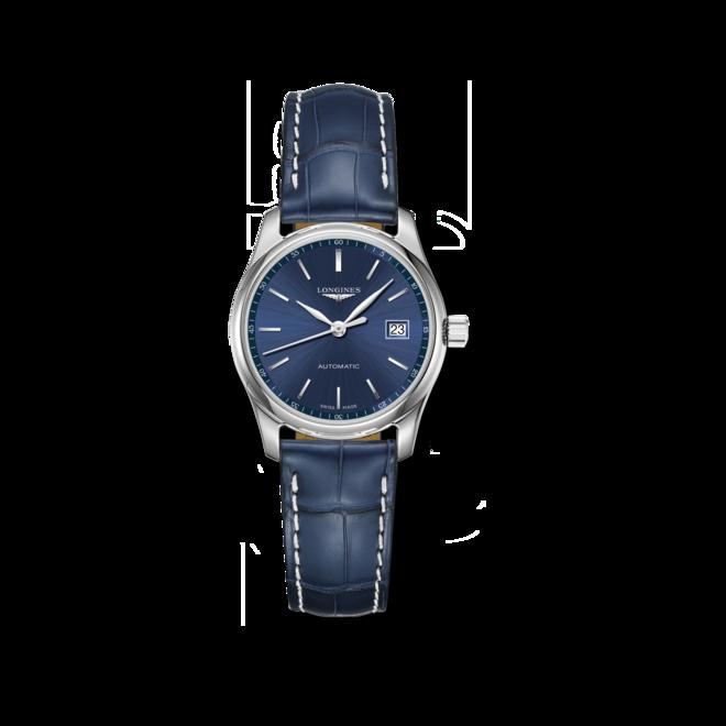Damenuhr Longines Master Automatik 29mm mit blauem Zifferblatt und Alligatorenleder-Armband bei Brogle