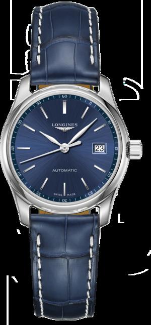Damenuhr Longines Master Automatik 29mm mit blauem Zifferblatt und Alligatorenleder-Armband