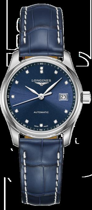 Damenuhr Longines Master Automatik 29mm mit Diamanten, blauem Zifferblatt und Alligatorenleder-Armband