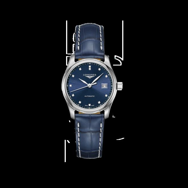 Damenuhr Longines Master Automatik 29mm mit Diamanten, blauem Zifferblatt und Alligatorenleder-Armband bei Brogle