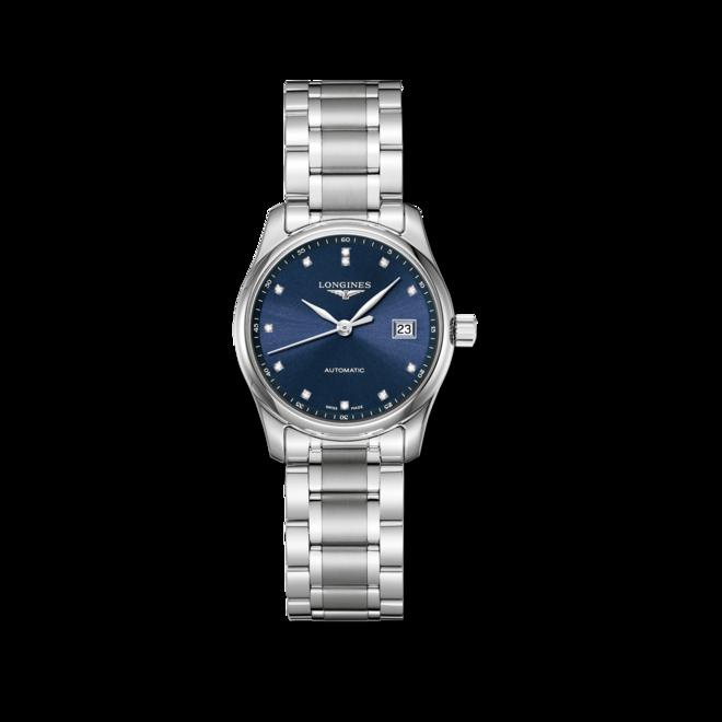 Damenuhr Longines Master Automatik 29mm mit Diamanten, blauem Zifferblatt und Edelstahlarmband bei Brogle