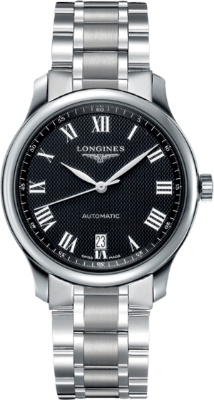 Armbanduhr Longines Master Automatik 38,5mm mit schwarzem Zifferblatt und Edelstahlarmband