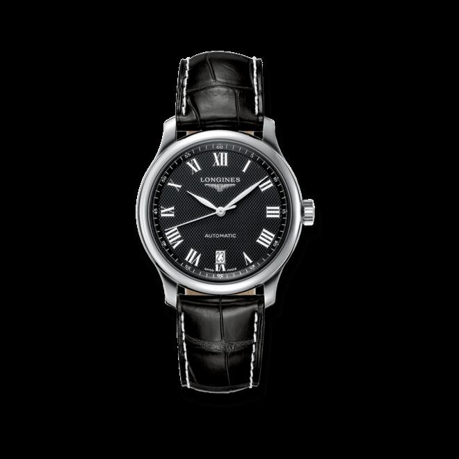 Armbanduhr Longines Master Automatik 38,5mm mit schwarzem Zifferblatt und Alligatorenleder-Armband bei Brogle