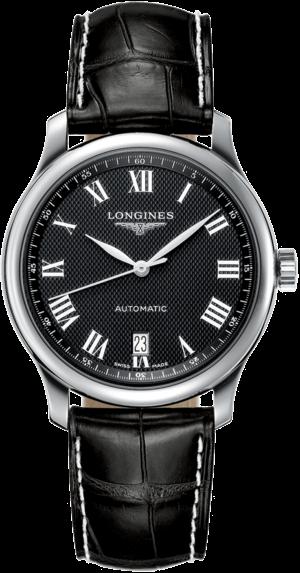 Armbanduhr Longines Master Automatik 38,5mm mit schwarzem Zifferblatt und Alligatorenleder-Armband