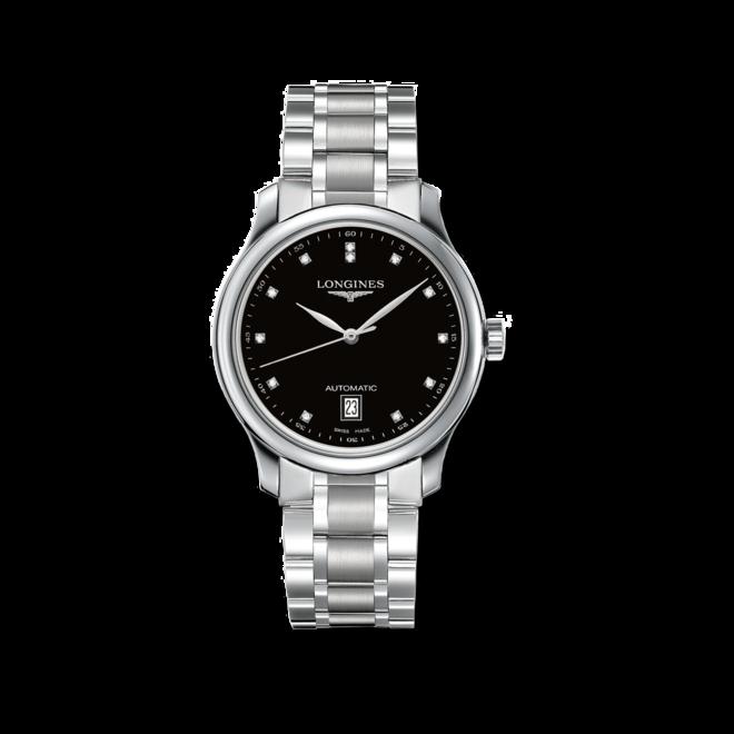 Damenuhr Longines Master Automatik 38,5mm mit Diamanten, schwarzem Zifferblatt und Edelstahlarmband bei Brogle