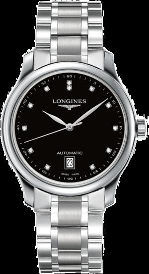 Damenuhr Longines Master Automatik 38,5mm mit Diamanten, schwarzem Zifferblatt und Edelstahlarmband