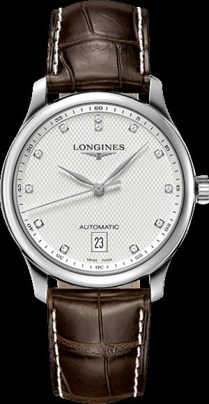 Damenuhr Longines Master Automatik 38,5mm mit Diamanten, silberfarbenem Zifferblatt und Alligatorenleder-Armband