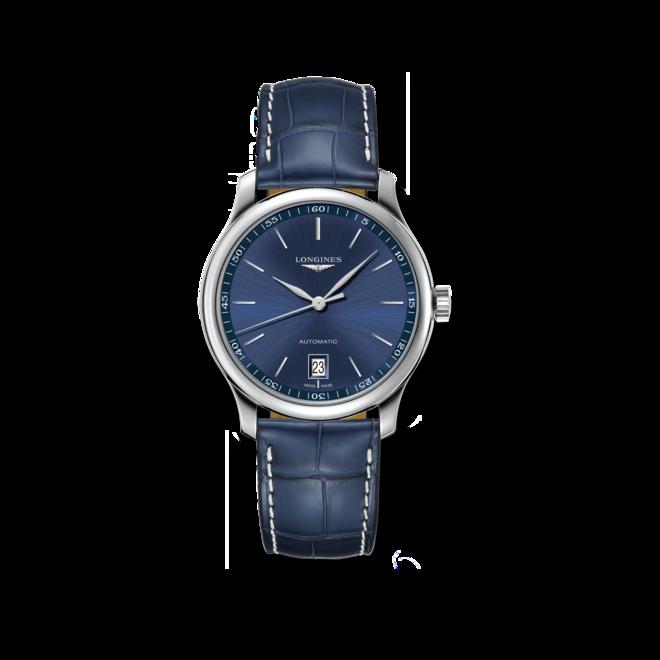 Armbanduhr Longines Master Automatik 38,5mm mit blauem Zifferblatt und Alligatorenleder-Armband bei Brogle