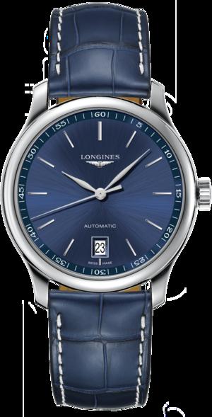 Armbanduhr Longines Master Automatik 38,5mm mit blauem Zifferblatt und Alligatorenleder-Armband