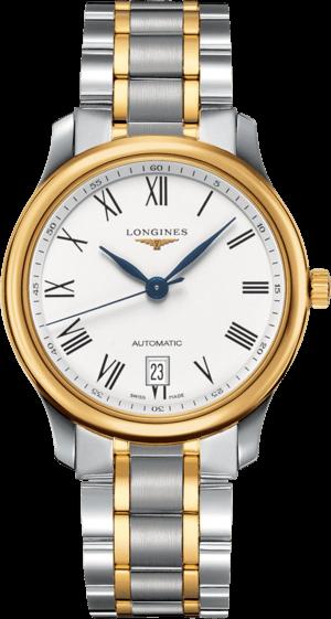 Armbanduhr Longines Master Automatik 38,5mm mit weißem Zifferblatt und Edelstahlarmband