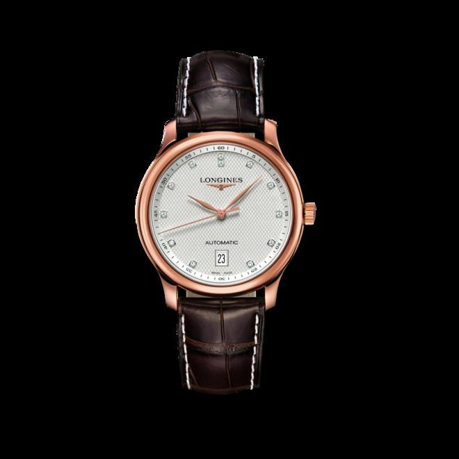 Armbanduhr Longines Master Automatik 38,5mm mit Diamanten, silberfarbenem Zifferblatt und Alligatorenleder-Armband bei Brogle