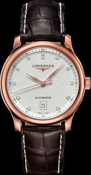Armbanduhr Longines Master Automatik 38,5mm mit Diamanten, silberfarbenem Zifferblatt und Alligatorenleder-Armband
