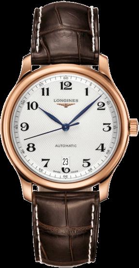 Armbanduhr Longines Master Automatik 38,5mm mit silberfarbenem Zifferblatt und Alligatorenleder-Armband
