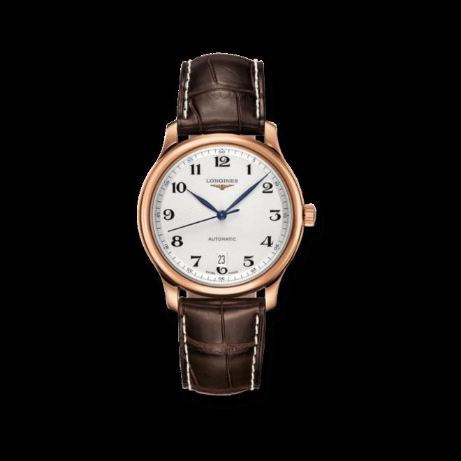 Armbanduhr Longines Master Automatik 38,5mm mit silberfarbenem Zifferblatt und Alligatorenleder-Armband bei Brogle