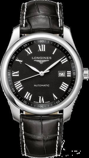 Herrenuhr Longines Master Automatik 40mm mit schwarzem Zifferblatt und Alligatorenleder-Armband