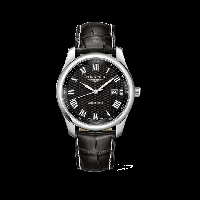 Herrenuhr Longines Master Automatik 40mm mit schwarzem Zifferblatt und Alligatorenleder-Armband bei Brogle