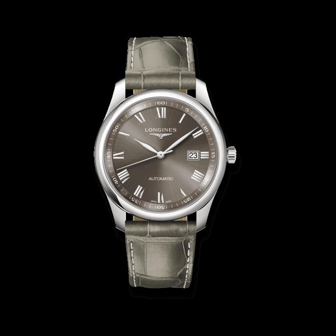 Herrenuhr Longines Master Automatik 40mm mit grauem Zifferblatt und Alligatorenleder-Armband bei Brogle