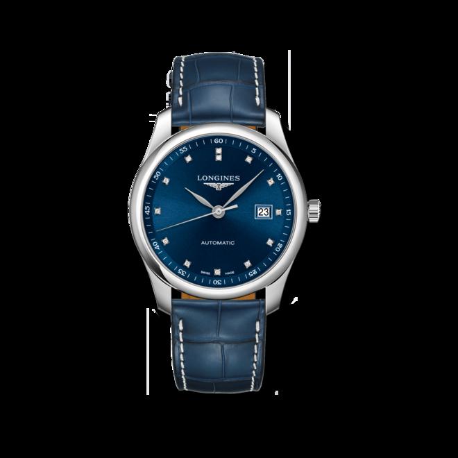 Herrenuhr Longines Master Automatik 40mm mit Diamanten, blauem Zifferblatt und Alligatorenleder-Armband bei Brogle