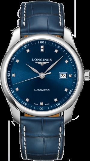 Herrenuhr Longines Master Automatik 40mm mit Diamanten, blauem Zifferblatt und Alligatorenleder-Armband