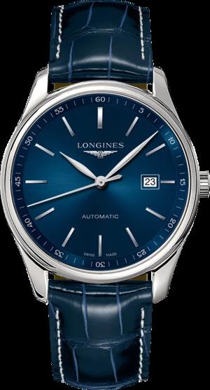 Herrenuhr Longines Master Automatik 42mm mit blauem Zifferblatt und Alligatorenleder-Armband