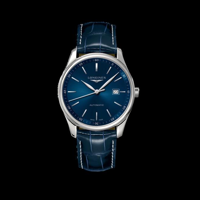 Herrenuhr Longines Master Automatik 42mm mit blauem Zifferblatt und Alligatorenleder-Armband bei Brogle