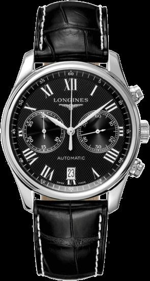 Herrenuhr Longines Master Automatik Chronograph 40mm mit schwarzem Zifferblatt und Alligatorenleder-Armband