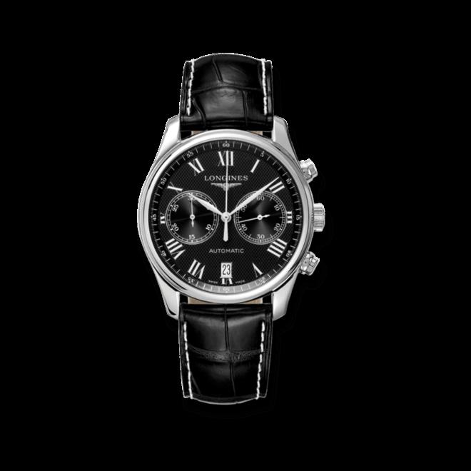 Herrenuhr Longines Master Automatik Chronograph 40mm mit schwarzem Zifferblatt und Alligatorenleder-Armband bei Brogle
