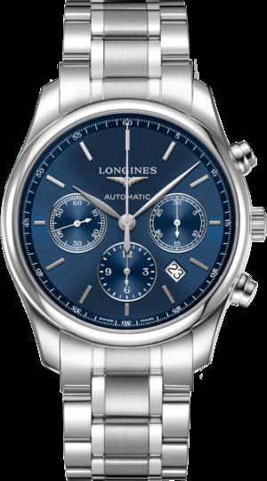 Herrenuhr Longines Master Automatik Chronograph 42mm mit blauem Zifferblatt und Edelstahlarmband