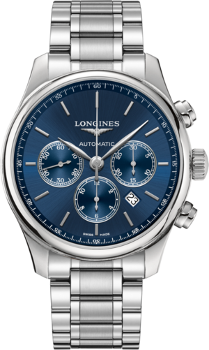Herrenuhr Longines Master Automatik Chronograph 44mm mit blauem Zifferblatt und Edelstahlarmband