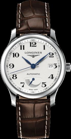 Herrenuhr Longines Master Automatik Gangreserve 38,5mm mit silberfarbenem Zifferblatt und Alligatorenleder-Armband