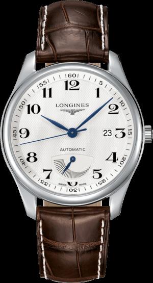 Herrenuhr Longines Master Automatik Gangreserve 40mm mit silberfarbenem Zifferblatt und Alligatorenleder-Armband
