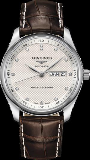 Herrenuhr Longines Master Automatik Jahreskalender 40mm mit Diamanten, weißem Zifferblatt und Alligatorenleder-Armband