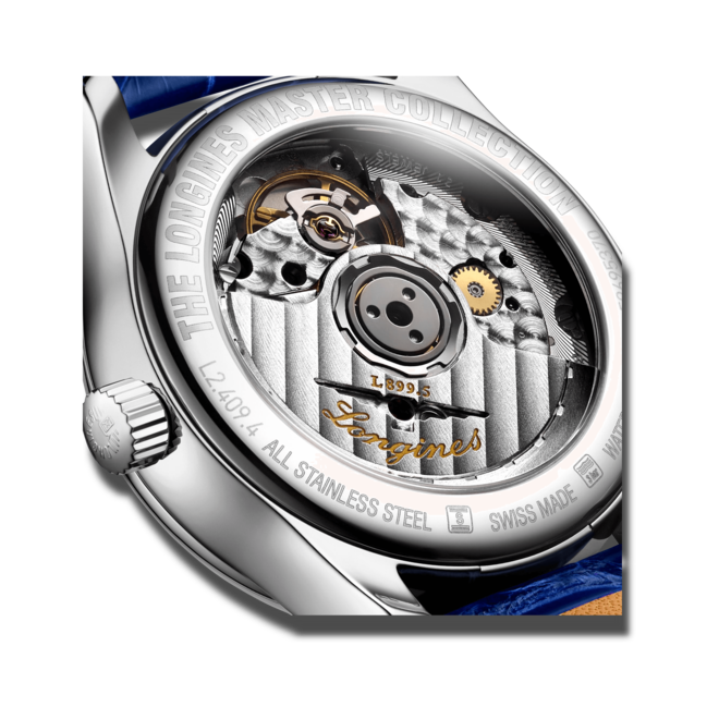 Damenuhr Longines Master Automatik Mondphase 34mm mit Diamanten, perlmuttfarbenem Zifferblatt und Alligatorenleder-Armband bei Brogle