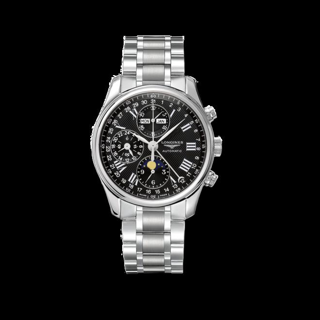 Herrenuhr Longines Master Mondphase Chronograph 40mm mit schwarzem Zifferblatt und Edelstahlarmband bei Brogle