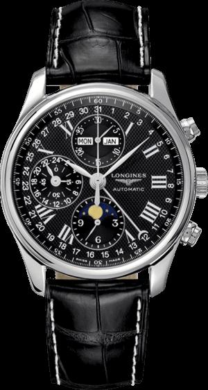 Herrenuhr Longines Master Mondphase Chronograph 40mm mit schwarzem Zifferblatt und Krokodilleder-Armband