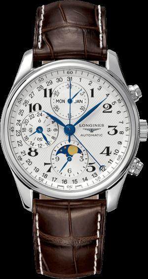 Herrenuhr Longines Master Mondphase Chronograph 40mm mit silberfarbenem Zifferblatt und Alligatorenleder-Armband