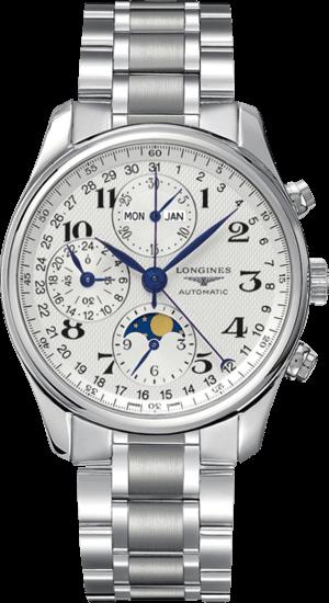 Herrenuhr Longines Master Mondphase Chronograph 40mm mit silberfarbenem Zifferblatt und Edelstahlarmband