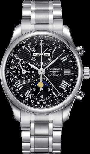 Herrenuhr Longines Master Mondphase Chronograph 42mm mit schwarzem Zifferblatt und Edelstahlarmband