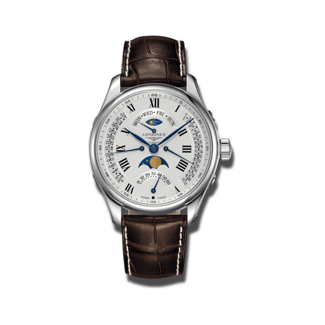 Herrenuhr Longines Master Retrograde Mondphase 41mm mit silberfarbenem Zifferblatt und Alligatorenleder-Armband