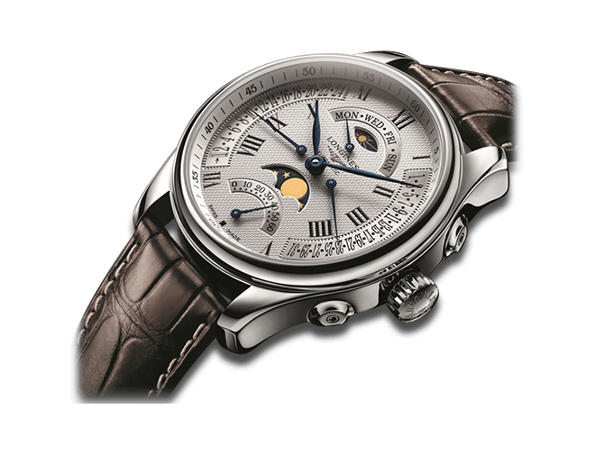 Herrenuhr Longines Master Retrograde Mondphase 44mm mit silberfarbenem Zifferblatt und Alligatorenleder-Armband
