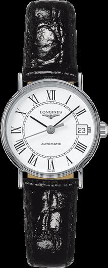 Damenuhr Longines Présence Automatik 25,5mm mit weißem Zifferblatt und Rindsleder-Armband