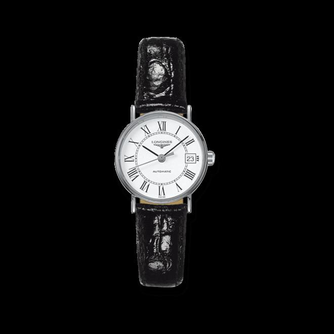 Damenuhr Longines Présence Automatik 25,5mm mit weißem Zifferblatt und Rindsleder-Armband bei Brogle
