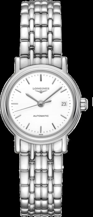Damenuhr Longines Présence Automatik 25,5mm mit weißem Zifferblatt und Edelstahlarmband