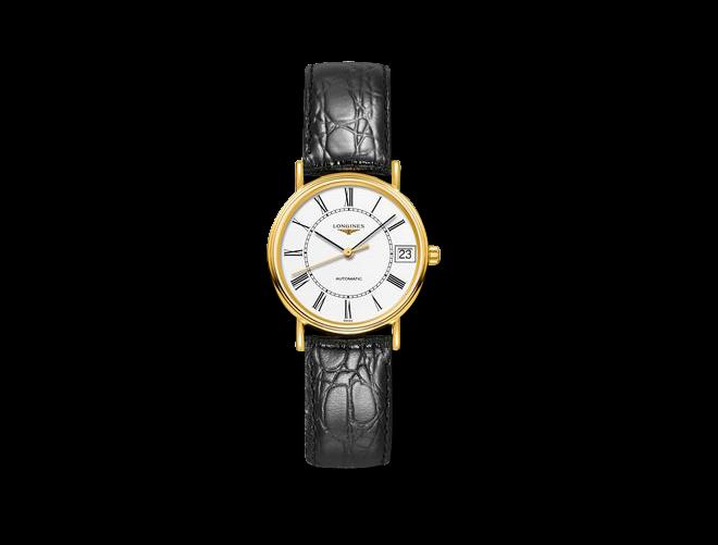 Damenuhr Longines Présence Automatik 30mm mit weißem Zifferblatt und Armband aus Kalbsleder mit Krokodilprägung bei Brogle