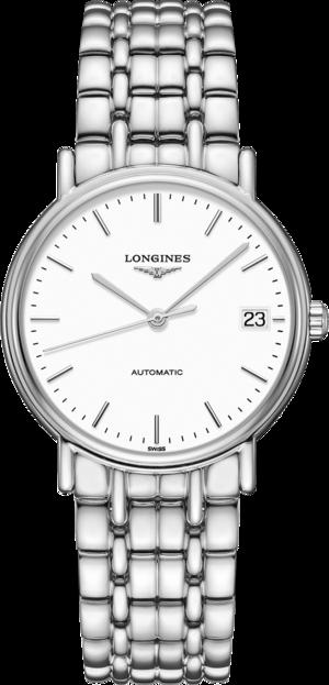 Damenuhr Longines Présence Automatik 34,5mm mit weißem Zifferblatt und Edelstahlarmband