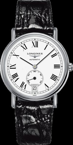Herrenuhr Longines Présence Automatik 38,5mm mit weißem Zifferblatt und Rindsleder-Armband